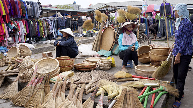 Daily household items being also sold at the Tet market.