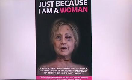 Hình ảnh Hillary Clinton, Angela Merkel mặt bầm tím trên phố Italy - Ảnh 2.