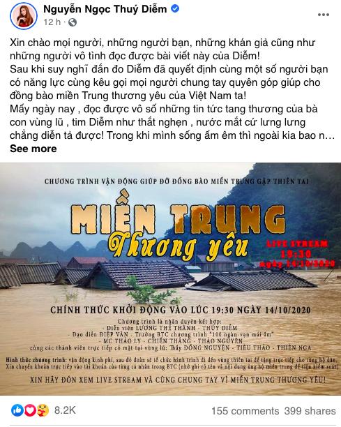 Dàn diễn viên Việt xót xa cho miền Trung bão lũ - Ảnh 1.