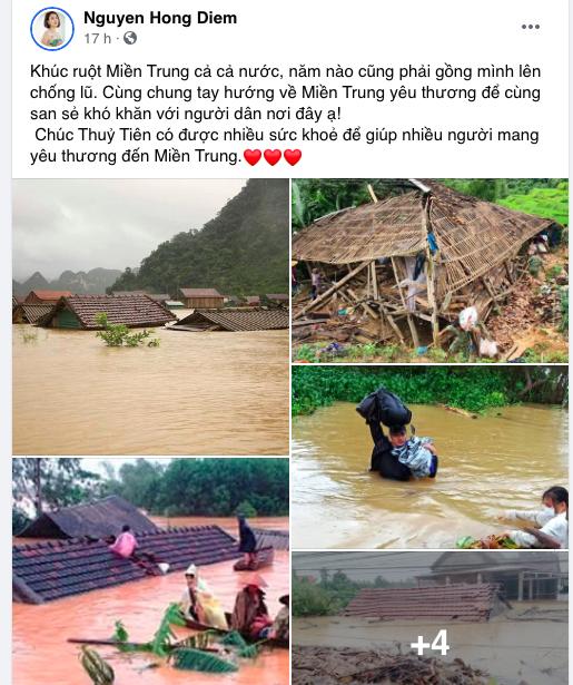 Dàn diễn viên Việt xót xa cho miền Trung bão lũ - Ảnh 4.