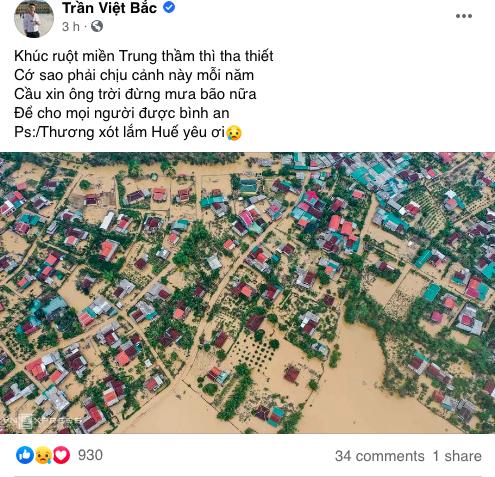 Dàn diễn viên Việt xót xa cho miền Trung bão lũ - Ảnh 5.