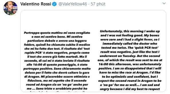 Valentino Rossi nhiễm COVID-19 - Ảnh 1.