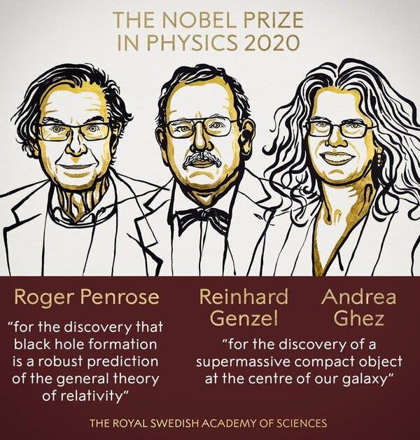 Giải Nobel Vật lý năm 2020 vinh danh 3 nhà khoa học nghiên cứu về hố đen - Ảnh 1.