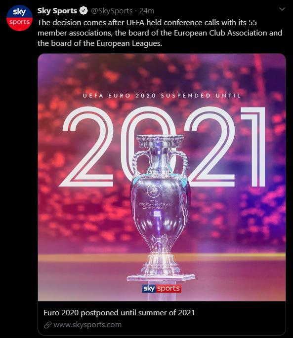 EURO 2020, Copa America 2020 hoãn sang hè 2021 - Ảnh 2.