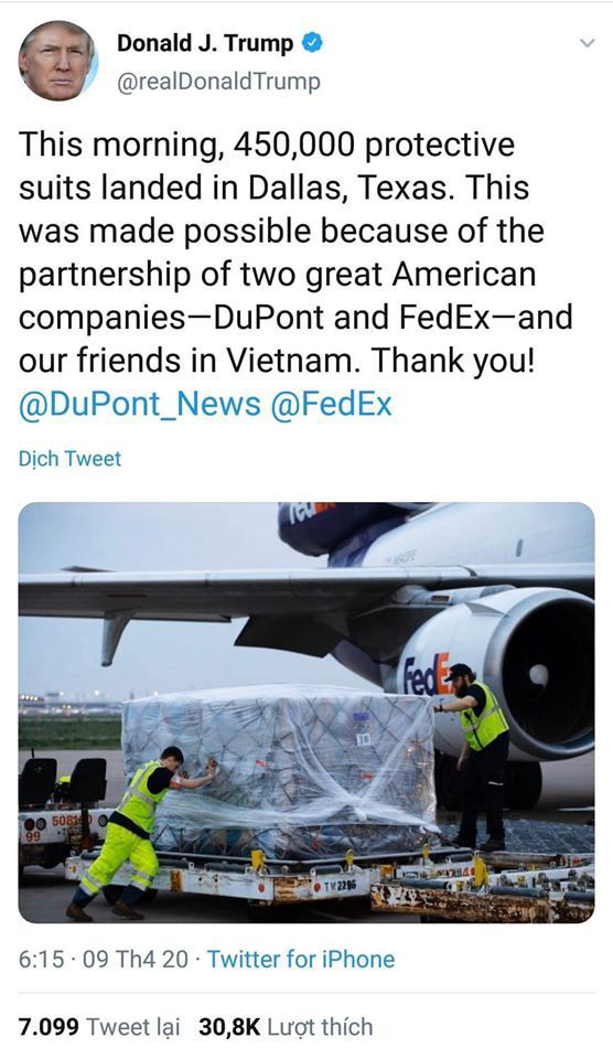 The US President thanks Vietnam on Twitter on April 9. (Screenshot)