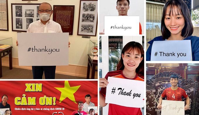 Vietnam coach Park Hang-seo and Vietnamese players respond to the Thank You campaign to spread a message of gratitude to doctors in the frontline against COVID-19.