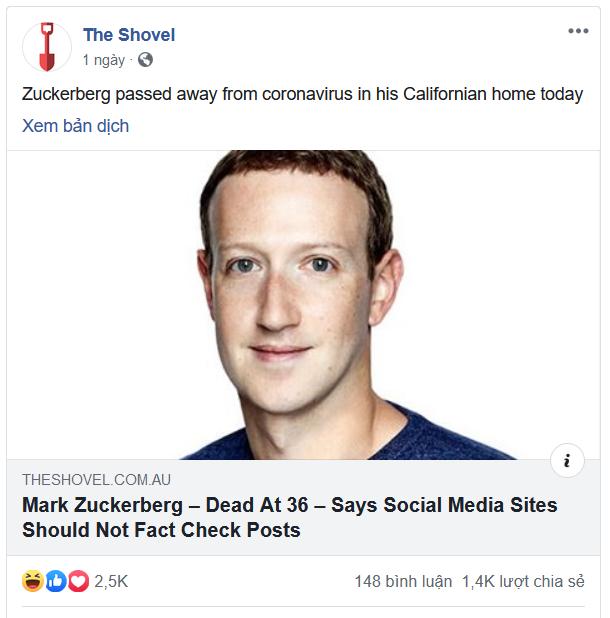 Trang web đăng tin sốc về việc Mark Zuckerberg qua đời bởi... COVID-19 - Ảnh 1.