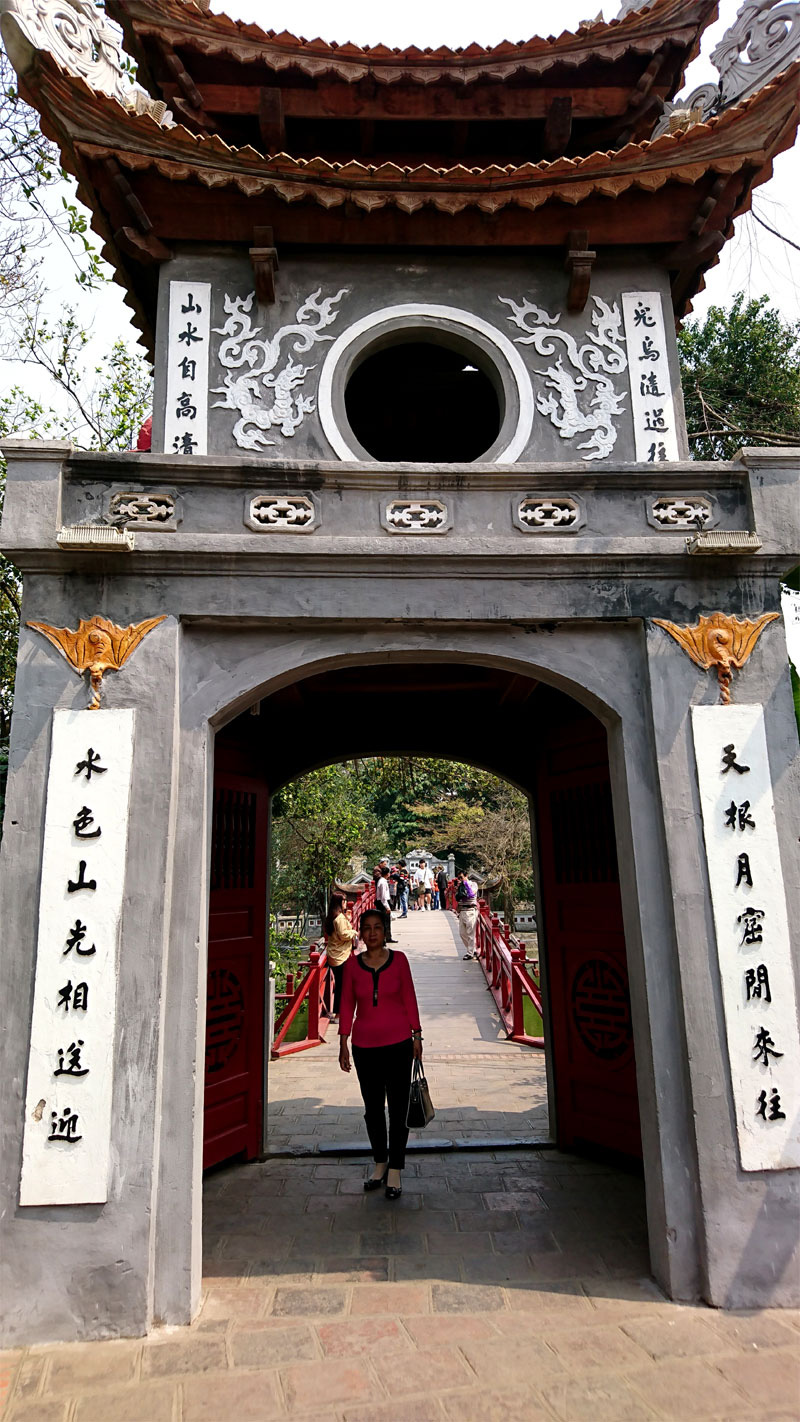 The entrance to Ngoc Son Temple in front of The Huc bridge