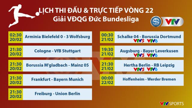 Lịch thi đấu & trực tiếp vòng 22 Bundesliga: Tâm điểm trận Derby Schalke - Dortmund - Ảnh 1.