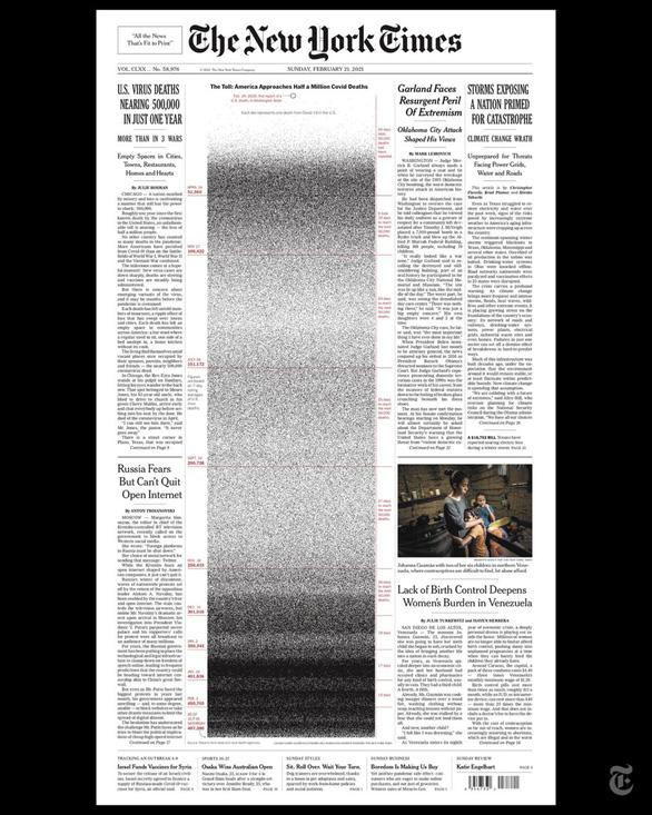 Những trang nhất gây choáng của New York Times về COVID-19  - Ảnh 1.