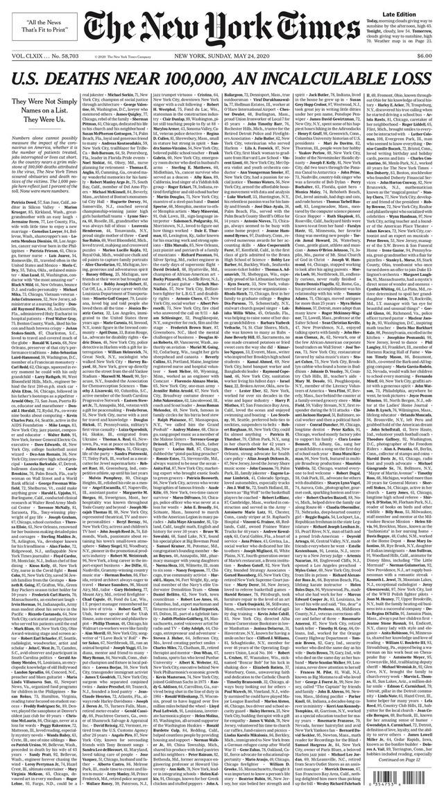 Những trang nhất gây choáng của New York Times về COVID-19  - Ảnh 2.