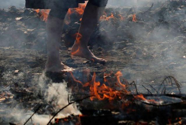 Kỳ lạ, lễ hội đi chân trần qua than cháy để cầu bình an ở Nhật Bản - ảnh 1