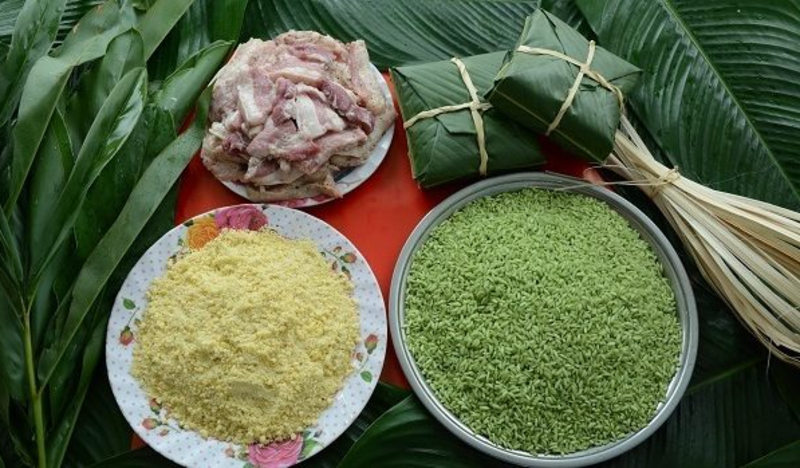 The ingredients of the Young green rice Banh chung. Photo: Hieu Nghia.