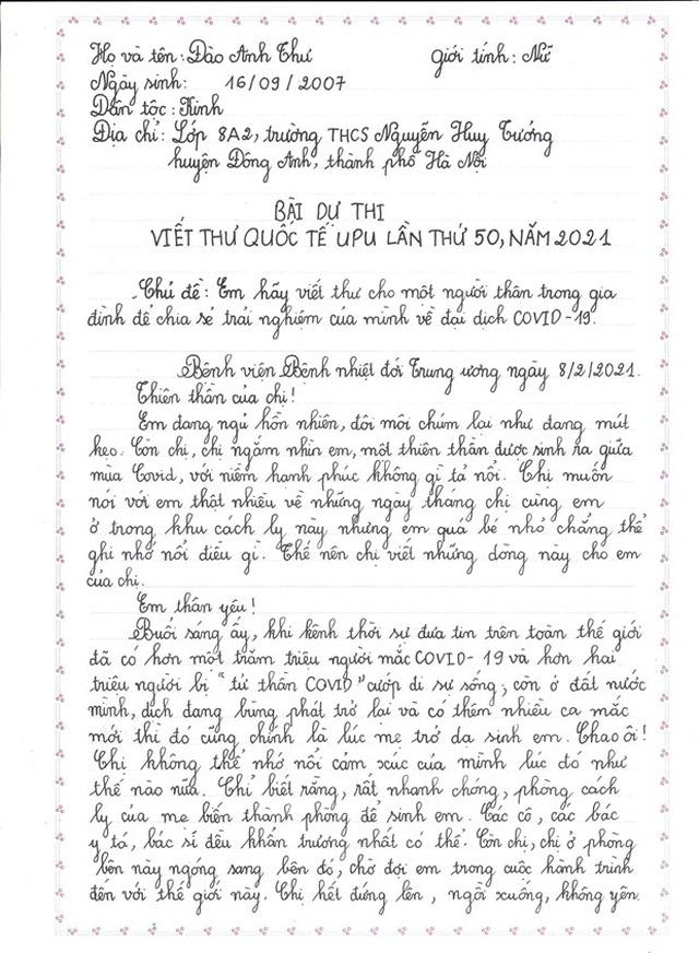 Nữ sinh giành giải Nhất viết thư UPU: Cảm hứng từ tâm dịch COVID-19 - Ảnh 3.
