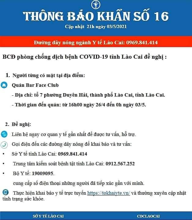 Lào Cai: Tìm người đến quán Bar Face Club ngày 29/4 - 3/5 - Ảnh 1.