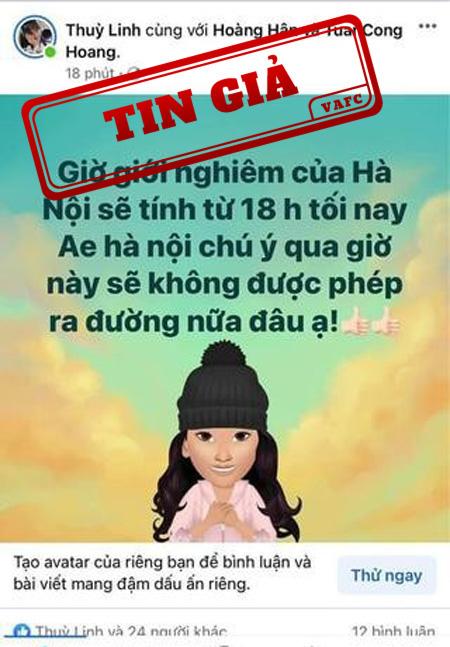 """Thông tin """"Giờ giới nghiêm của Hà Nội sẽ tính từ 18h tối nay"""" là tin giả - Ảnh 1."""