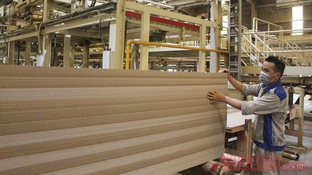 Production at the VRG Quang Tri MDF Wood Joint Stock Company (Photo: NDO/Lam Quang Huy)