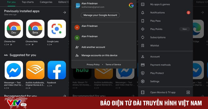 Google Play Store thêm chế độ tối trên trình chuyển đổi tài khoản