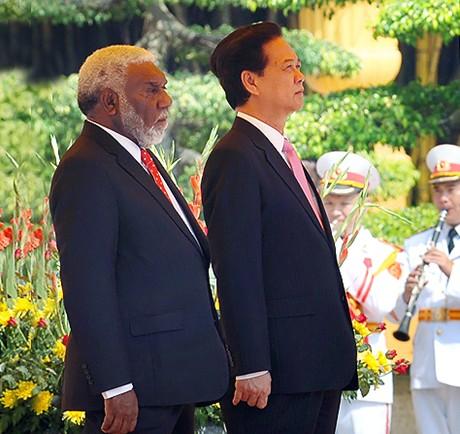Lễ đón chính thức Thủ tướng nước CH Vanuatu. Ảnh: VGP/Nhật Bắc
