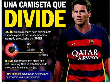 Người hâm mộ phản đối thiết kế trên áo đấu mới của Barca
