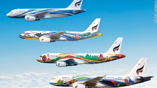 Những chiếc máy bay sặc sỡ củaBangkok Airways.