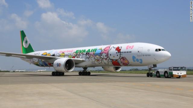 Chiếc máy bay hãng Eva Air ngộ nghĩnh và đáng yêu với những nhân vật hoạt hình.