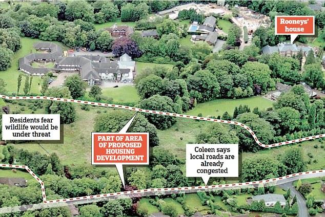 Trên bản đồ, dinh thự của vợ chồng Rooney khá gần với dự án xây mới 15 ngôi nhà trong vành đai xanh.