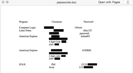 Tập tin password.doc lưu trữ các thông tin khá chi tiết về nhân viên của Sony