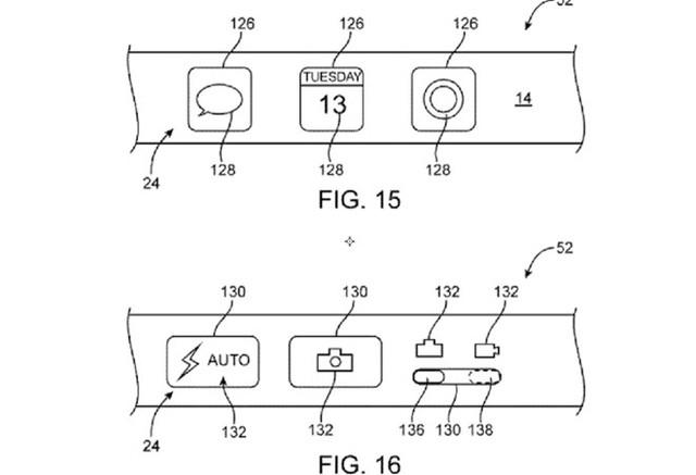 Hình ảnh thiết kế phím cứng vật lý bên cạnh phím cảm ứng trong bằng sáng chế của Apple