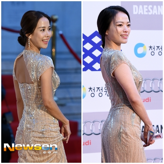 Tuy nhiên, Chun Woo Hee (trái) dường như trở nên nổi bật hơn với phụ kiện đi kèm là đôi bông tai dài, phù hợp với chiếc váy.