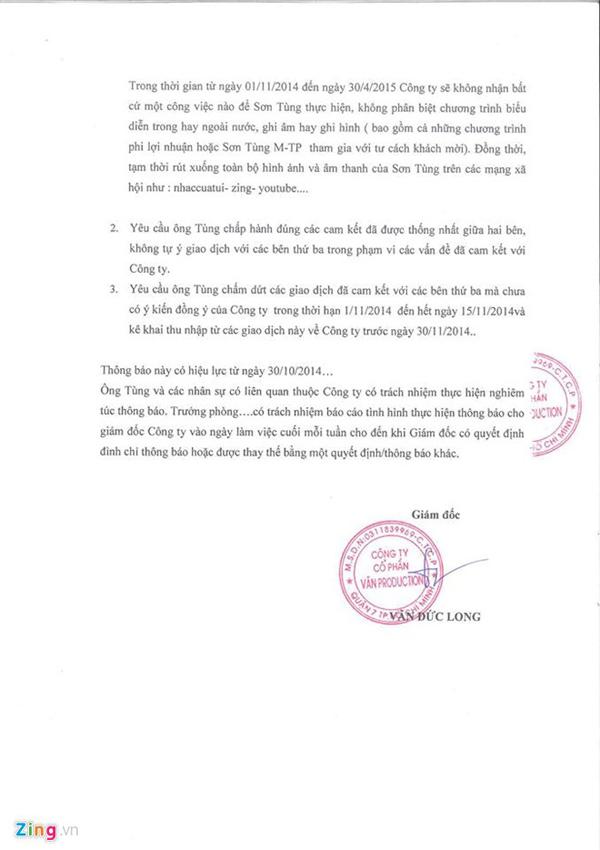 Thông báo của Văn Production về việc cấm diễn Sơn Tùng trong 6 tháng.