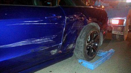 Một xe ô tô đâmtrong vụ việc.
