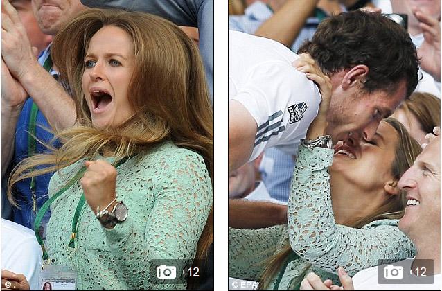 Kim Sears ăn mừng chức vô địch Wimbledon 2013  của Andy Murray