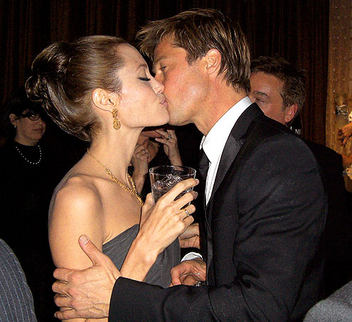 After losing out on a Golden Globe for his role in Babel, Pitt  finds solace in the arms of Jolie, whom he sweetly kisses during the  awards show ceremony at the Beverly Hilton Hotel on Jan. 15, 2007.