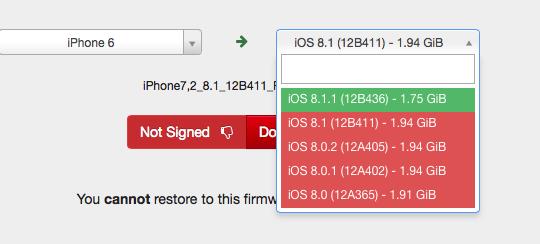 Hiện tại, Apple chỉ cho phép cài đặt phiên bản iOS 8.1.1