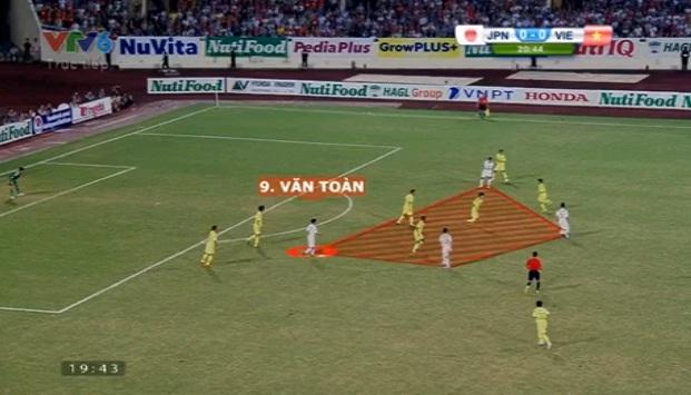Tình huống U19 Việt Nam phối hợp trước khi Văn Toàn lập công mở tỉ số ở phút 21 với cú sút chéo góc đẹp mắt.