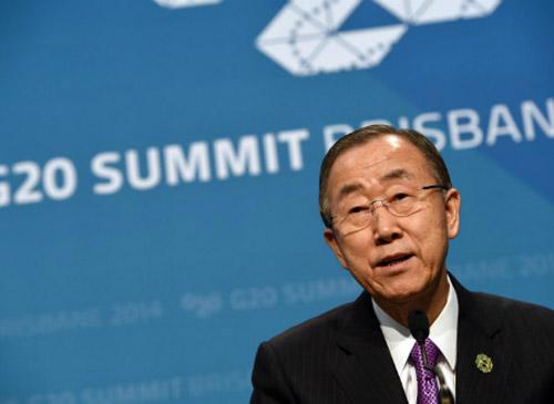 Tổng thư ký LHQ Ban Ki-moon nói về Ebola tại Hội nghị G20.(Ảnh: AFP)