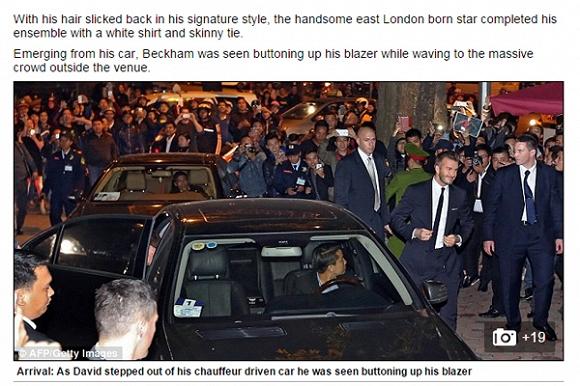 Tờ Mail Online đưa tin Beckham ăn vận bảnh bao như thường thấy khi tới Việt Nam lần thứ 3.