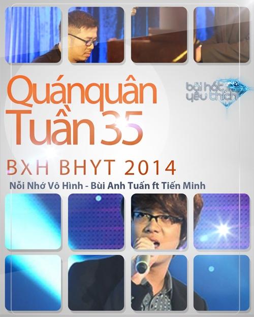 Ca khúc Nỗi nhớ vô hình được Bùi Anh Tuấn và NS Tiến Minh thể hiện trong Liveshow BHYT tháng 8 đã vươn lên dẫn đầu BXH tuần 35