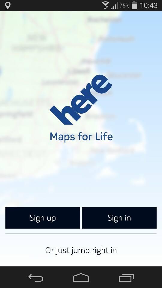 Màn hình đăng nhập HERE Maps
