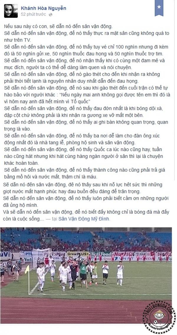 Cảm xúc dạt dào của một ông bố tương lai sau khi xem trận U19 Việt Nam - U19 Myanmar.