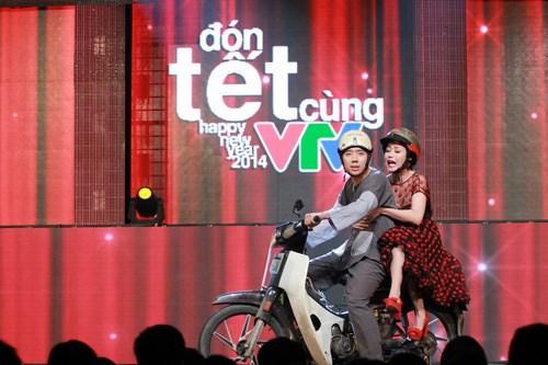 Trấn Thành và Ốc Thanh Vân trong chương trình Đón Tết cùng VTV 2014