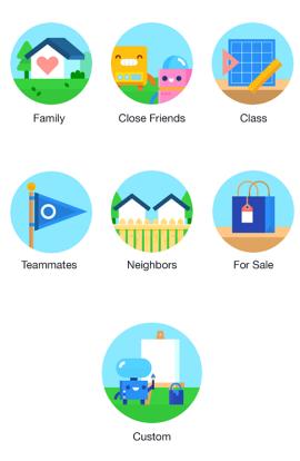 Ứng dụng có gợi ý sẵn các nhóm cho người dùng