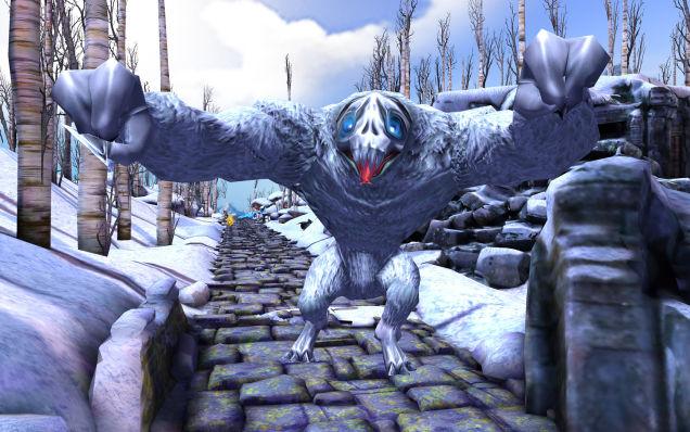 Nếu không chạy nhanh, người chơi sẽ bị con quái vật bắt kịp