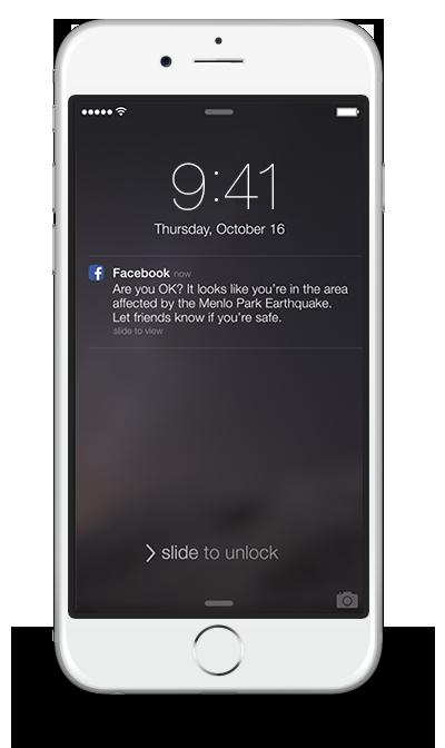 Thông báo của Facebook nhằm đảm bảo người dùng an toàn trong khu vực thiên tai