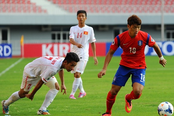Cánh trái của Hồng Duy (trái) thường xuyên bị các cầu thủ U19 Hàn Quốc khai thác trong trận đấu vừa qua. (Ảnh: Zing)