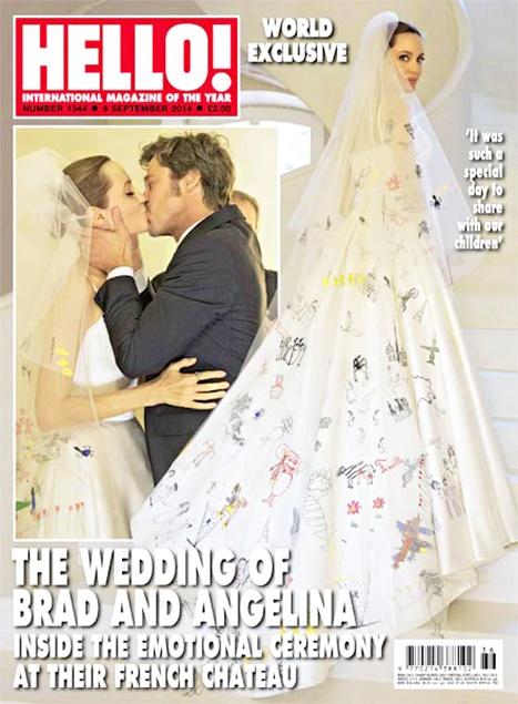 Bộ váy cưới của Angelina Jolie được đăng tải trên tạp chí Hello (Ảnh: US Weekly)