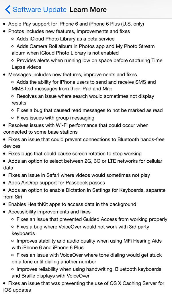 Thông tin chi tiết về cập nhật trên iOS 8.1