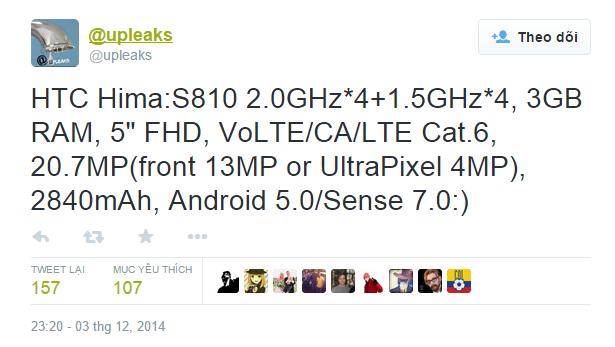 Thông tin về chiếc HTC Hima đăng tải trên Twitter