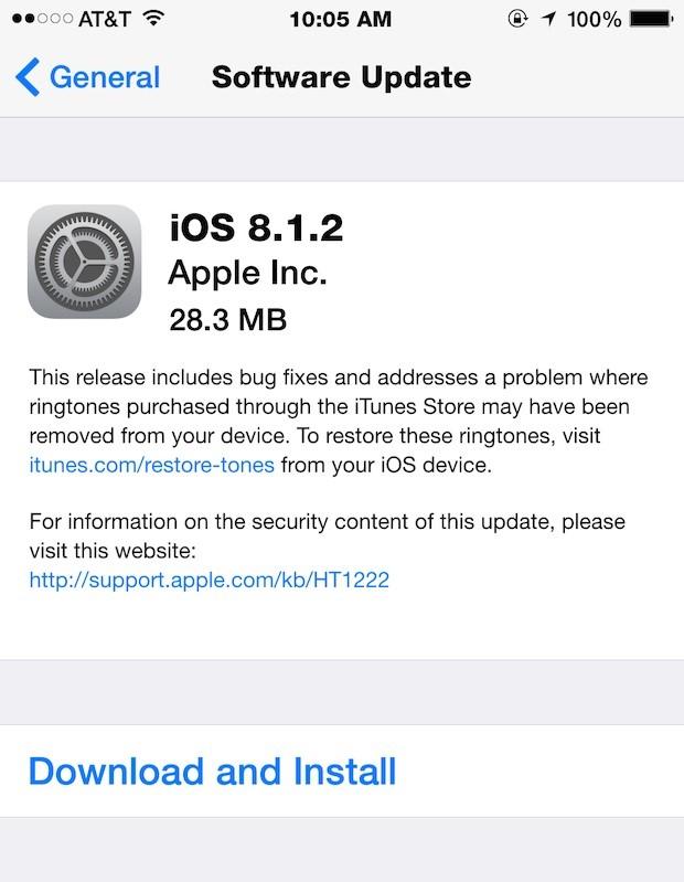 iOS 8.1.2 đã được Apple phát hành